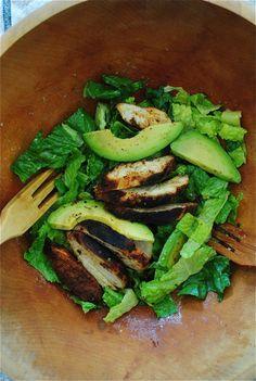 Blackened Chicken Caesar Salads with Avocado | Bev Cooks