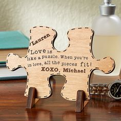 "This is BEAUTIFUL! It's the ""Perfect Match"" Wood Puzzle Piece keepsake from PMall - you can pick from 3 beautiful quotes and have it engraved with your names and any message - great wedding gift or Valentine's day gift idea ... or great 5th Anniversary Gift idea because ""Wood"" is the traditional 5th anniversary gift!"
