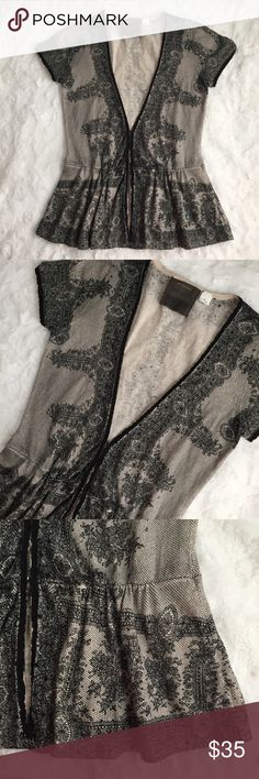 Guinevere Lace Peplum Cardigan Short sleeved, v-neck cardigan in a pretty lace print, finished with a peplum hem. Lightweight material. Hook closures near the waistline. Anthropologie Sweaters Cardigans