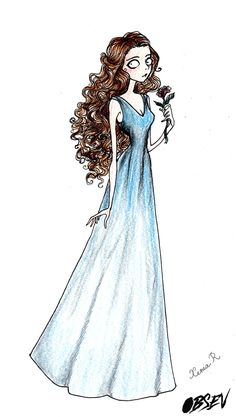 Margaery Tyrell drawn in the style of Tim Burton, by Xenia Rassolova.