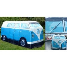 I think I'll be a happy camper!    Replica 1965 Volkswagen Camper Van 4-person Tent - Licesnsed by VW (Blue)