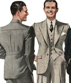 1930s style blazer men suit sportswear wool tweed jacket pants color illustration print ad vintage fashion style grey brown
