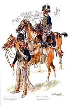 Ufficiale e cannoniere della Royal Horse Artillery inglese Waterloo 1815, Battle Of Waterloo, Conquistador, British Army, British Royals, Royal Horse Artillery, Empire, British Uniforms, Napoleonic Wars