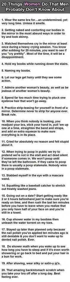 20 Things Women Do That Men Don't Know About Pictures, Photos, and Images for Facebook, Tumblr, Pinterest, and Twitter