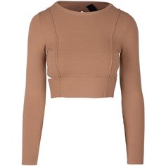 COMPACT CROP L/S TOP ($168) ❤ liked on Polyvore featuring tops, beige crop top, cropped tops, beige top, cut-out crop tops and long sleeve crop top