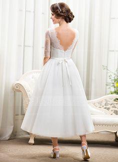 Forme Princesse Col rond Longueur mollet Tulle Charmeuse Dentelle Robe de mariée avec À ruban(s) (002055922)