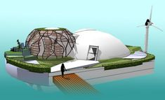 Stay safe from Zombies with this Waterpod Floating House with garden dome, wind and water power. Fits a family of five