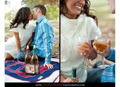 Picnic-with-wine engagement photos