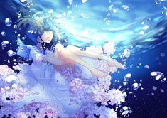Anime Original Mask Girl Flower Dress Short Hair Underwater Bubble Wallpaper Cherry Blossom Tree, Blossom Trees, Bubbles Wallpaper, Wallpaper Backgrounds, Wallpapers, Moe Anime, Anime Art, Neko, Underwater Drawing