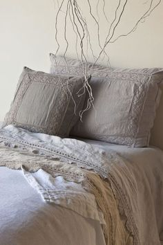 Lovely linen sheets with crocheted embellishments