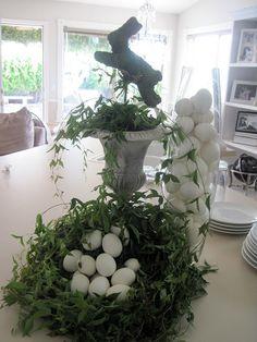 My mom's Easter decor -- egg nests! eggs in vases! Details at jaimeerose.azcentral.com if you're interested.