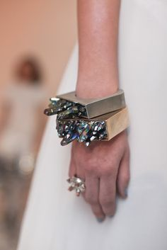 Crystal growth cuffs-a lot prettier than the druzy quartz trend I've been seeing.