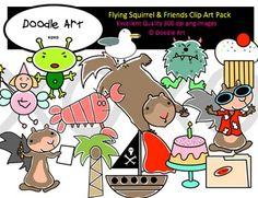 This Flying Squirrel & Friends Clipart collection includes all the images shown in the sample picture and more. This grouping is a parody of  4 stories about Scaredy Squirrel:Scaredy Squirrel Scaredy Squirrel at NightScaredy Squirrel at the BeachScaredy Squirrel has a Birthday PartyThey are adorable!This pack includes 134 different clips:* Black line masters of all clips* Scared Squirrel* Flying Squirrel* Bee* Shark* Germs* Alien* Tarantula* Poison Ivy* First Aid Kit* Bandage* Net* Hard H...