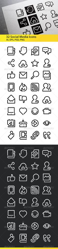 Social Media - One line icons