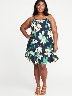 Plus-Size Fit & Flare Cami Dress|old-navy