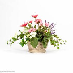 Pink Geranium and Gerbera Silk Floral Arrangement