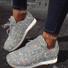 Women Muffin Rhinestone New Crystal Platform Sneakers Instylemore Shoes Closed Toe Blue Low Heel Casual Shoes – instylemore Casual Heels, Casual Sneakers, White Sneakers, Sneakers Fashion, Fashion Shoes, White Shoes, Low Heel Shoes, Women's Shoes, Low Heels