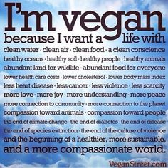 Go Vegan - It's the best you can do for a good, healthy and peaceful life! <3