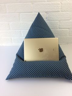 Denim Dot Fabric book Holder or iPad Stand, Bean Bag