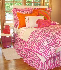 Girls Pink Black Zebra Animal Fur Polka Dot Bedding