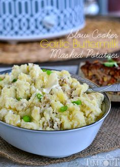 Slow Cooker Garlic Buttermilk Mashed Potatoes for nights when dinner needs to be fast, easy and delicious! | MomOnTimeout.com #slowcooker #p...