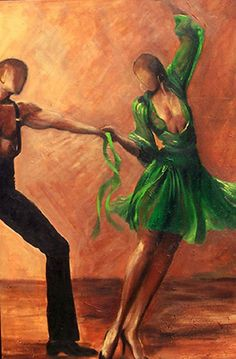 Salsa dancers Giclee art print on canvas- Size 24x36  Limited edition wall art on canvas-  Contemporary art - FREE SHIPPING #etsymntt #Walldecor