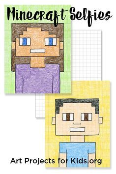 Guide to Drawing Minecraft Selfies Minecraft Selfies - Art Projects for Kids. Add a little math and pop culture to your kid's art.Minecraft Selfies - Art Projects for Kids. Add a little math and pop culture to your kid's art. School Art Projects, Projects For Kids, Art Education Projects, Art Project For Kids, Art Projects Kids, Project Ideas, Easy Projects, Middle School Art, Art School