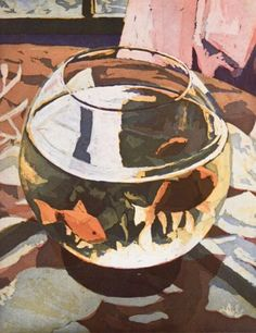 "huariqueje: "" Fishbowl - Marcel Schellekens , 1997 Colour etching , aquatint 50 x 40 x "" Pretty Art, Cute Art, Painting Inspiration, Art Inspo, Illustrations, Illustration Art, Guache, Anime Comics, Aesthetic Art"