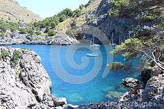 Boats in Cala de sa Calobra bay in Majorca, Spain