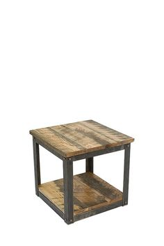 "Small Batch, End Table  20"" x 20"" x 19""  Only 150 will be made. Wood on the table pictured, was reclaimed from a 140 year old expired tobacco barn in Montgomery County, KY. Other tops available from other Kentucky smokehouses, barns and even a local (Lawrenceburg, KY) Bourbon distillery warehouse.    Seen exclusively (retail) at Completely Kentucky in Frankfort,KY.  237 West Broadway  Frankfort, KY 40601  (502) 223-5240. Allow 6-8 weeks for custom orders & delivery."