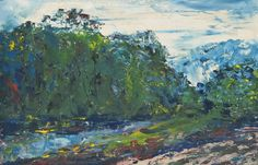 Jack Butler Yeats (Irish, The Road beside the River, Oil on board, 9 x 14 in. Jack B, Irish Art, Contemporary Artists, Butler, Oil, River, Board, Trees, Paintings