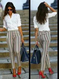 Striped pants Red Pumps Navy Blue Purse White shirt Too dope!!