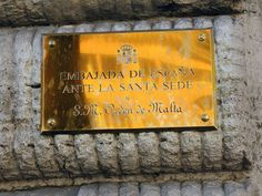 Plaque at Spanish Embassy to the Holy See, near the Spanish Steps in Rome