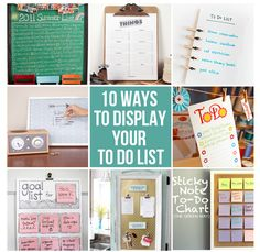 "10 ways to display your to do list: If I ever really do make a to do list. Maybe that will be the first item on my list. ""Make cute to do list. Organization Station, Home Organisation, Office Organization, Clean Out, Life Hacks, Ideias Diy, Home Management, Organize Your Life, Craft Activities"