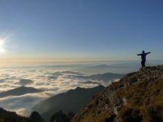 Sunrise over Ceahlau mountains, part of the Carpathians, Romania