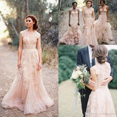 Buy 2015 V Neck Lace Wedding Dresses Reem Acra Puffy Bridal Gowns Vintage Country Garden Wedding Dresses Champagne A-line Wedding Gowns Online with the Low Price: $124.61 | DHgate.com