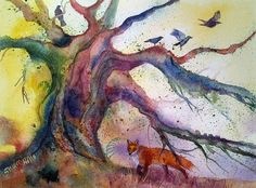 An original watercolour painting of an ancient tree with fox and birds by Shari Hills. by ShariHillsArt on Etsy