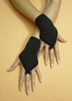 Short Black Fingerloop Gloves Gothic Tribal by estylissimo on Etsy, $22.00