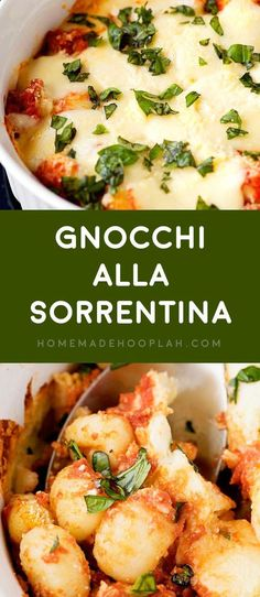 Gnocchi all Sorrentina! Delicious and tender gnocchi served sorrentina style: baked in a deep dish with homemade tomato sauce and flavored with lots of mozzarella and basil. Pot Pasta, Pasta Dishes, Food Dishes, Gnocchi Dishes, Pasta Recipes, Dinner Recipes, Cooking Recipes, Dinner Ideas, Dinner Entrees
