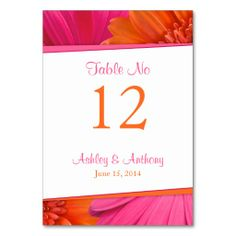 Hot pink and bright orange gerbera daisy flower wedding table cards. Perfect if you're thinking of having a pink and orange gerber daisy themed spring or summer wedding. Bright and cheerful. Click to order them: http://www.zazzle.com/pink_orange_gerbera_daisy_flower_wedding_table_card-256103320186875077?rf=238519505587130819&tc=pinterest  $1.20 per tablecard.   #weddings #weddingreception #tablecards #springwedding #summerwedding #daisywedding
