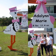 Camp Lejeune, NC ~ A Baby Girl!  Congrats to Lindsey and Brandon on the birth of their daughter! Such a lovely family!  Crystal Coast Storks & More is a Premier Stork Sign Business serving the greater Jacksonville, NC area. Surprise a loved one with a beautiful 6 ft lawn stork for their new baby!  Crystal Coast Storks & More (910) 381-5679