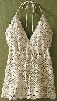 Crochet a bustier for the summer – La Grenouille Tricote - Kinderzimmer Débardeurs Au Crochet, Gilet Crochet, Mode Crochet, Crochet Woman, Irish Crochet, Crochet Crafts, Crochet Diagram, Crochet Tank Tops, Crochet Summer Tops