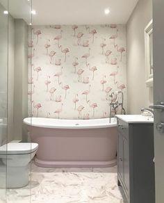Pink Flamingos Bathroom Wallpaper This beautiful pink flamingos wallpaper looks marvellous in this b Flamingo Bathroom, Bathroom Red, Grey Bathrooms, Bathroom Wall Decor, Bathroom Interior, Bathroom Canvas, Neutral Bathroom, Bathroom Ideas, Pink Flamingo Wallpaper