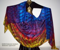 Shibori Borealis Silk Veil Belly Dance - 4 yard hand dyed China habotai silk - BURNING QUESTION via Etsy