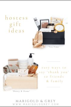 Shopping for a perfect host or hostess gift basket? Marigold & Grey curates gorgeous, easy to send, hostess gift boxes & sets for family, friends & neighbors. Great gift ideas for Thanksgiving & the holidays. Shop unique gift ideas & curated gift boxes & gift baskets by Marigold & Grey, an artisan gifting company w/ custom & ready-to-ship gift sets, boxes, baskets & designs for weddings, events, corporate, virtual, client appreciation, parties, thank you, congratulations & special occasions. Thank You Gift Baskets, Thank You Gifts, House Gifts, New Home Gifts, Moving Away Gifts, Customised Gifts, Curated Gift Boxes, Client Gifts, Gift Sets