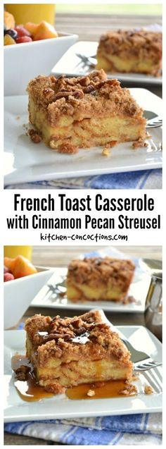Baked French Toast Casserole with Cinnamon Pecan Streusel - This make ahead breakfast or weekend brunch recipe serves a crowd and is easy and hassle free! Perfect for holidays like Easter! Backpacking Meals For Large Groups Make Ahead French Toast, Make Ahead Brunch, French Toast Bake, French Toast Casserole, Breakfast Casserole, Vegan Brunch Recipes, Breakfast Recipes, Dessert Recipes, Breakfast Ideas