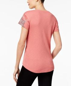 Style & Co Printed High-Low Top, Created for Macy's - Black XXL