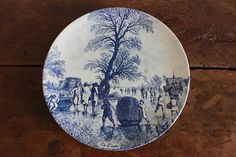Large Delft plate vintage Blauw country scene wall plate blue