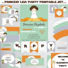 Princess Leia Birthday Printable Set-DIY Printable-Instant Download-Editable File using Adobe Reader-Banner-Labels-Tags-Toppers-Sign by PaperWillowDesigns on Etsy