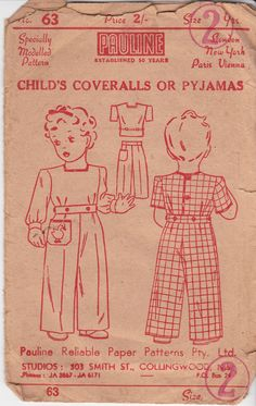 1940s Girl's Coveralls or Pajamas Pattern Pauline 63 Rare Vintage Sewing Pattern Size 2 Chest 21 inches